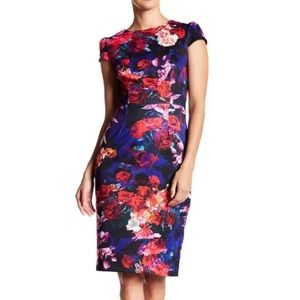 Betsy Johnson Dark Floral Print Pencil Dress